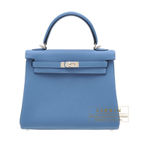 Hermes Kelly bag 25 Retourne Azur Togo leather Silver hardware