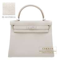 Hermes Kelly Touch bag 28 Retourne Beton Togo leather/ Matt alligator crocodile skin Silver hardware