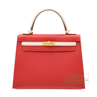 Hermes Personal Kelly bag 25 Sellier Rouge casaque/ Craie Epsom leather Gold hardware