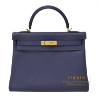 Hermes Kelly bag 32 Retourne Blue encre Togo leather Gold hardware