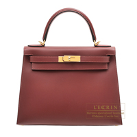 Hermes Kelly bag 28 Sellier Rouge H Sombrero leather Gold hardware