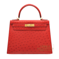 Hermes Kelly bag 28 Sellier Rouge vif Ostrich leather Gold hardware