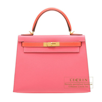 Hermes Personal Kelly bag 28 Sellier Rose azalee/ Rose jaipur Epsom leather Gold hardware
