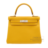 Hermes Kelly bag 28 Retourne Jaune ambre Togo leather Silver hardware