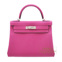Hermes Kelly bag 28 Retourne Rose purple Togo leather Silver hardware