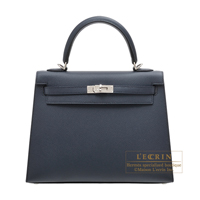 Hermes Kelly bag 25 Sellier Blue indigo Epsom leather Silver hardware