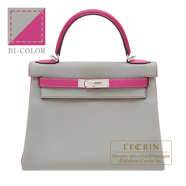 Hermes Personal Kelly bag 28 Retourne Gris mouette/ Rose purple Togo leather Matt silver hardware