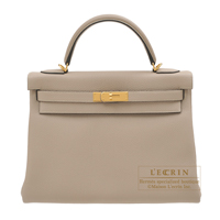 Hermes Kelly bag 32 Retourne Gris tourterelle Togo leather Gold hardware