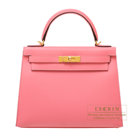Hermes Kelly bag 28 Sellier Rose azalee Epsom leather Gold hardware