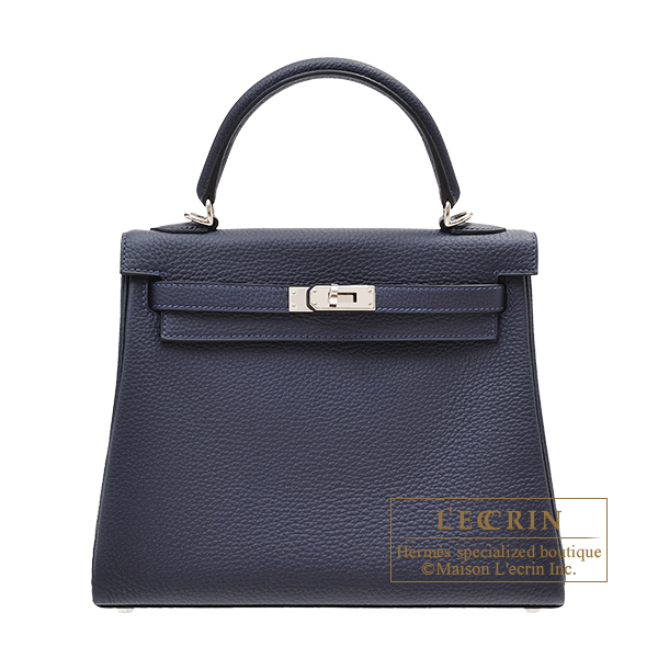 Hermes Kelly bag 25 Retourne Blue nuit Togo leather Silver hardware