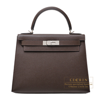 Hermes Kelly bag 28 Sellier Chocolat Epsom leather Silver hardware