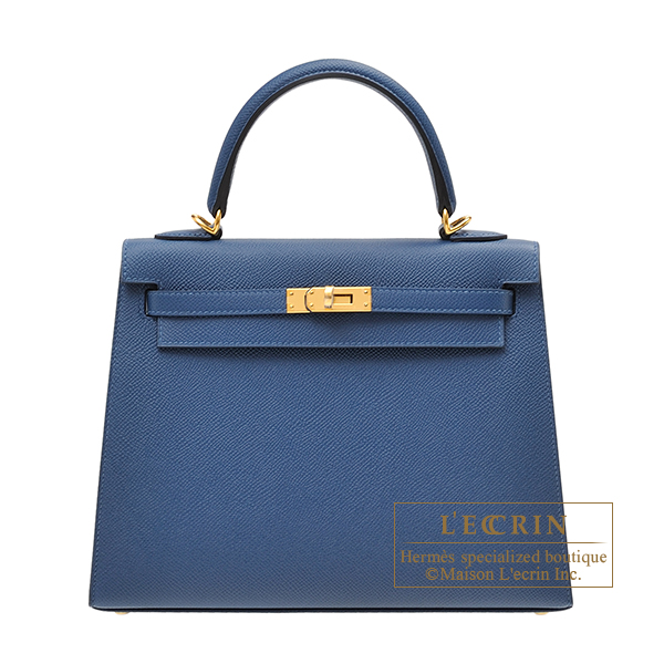 Hermes Kelly bag 25 Sellier Deep blue Epsom leather Gold hardware