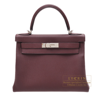 Hermes Kelly bag 28 Retourne Bordeaux Togo leather Silver hardware
