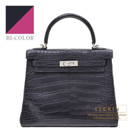 Hermes Kelly Verso bag 25 Retourne Blue marine/ Rose purple Matt alligator crocodile skin Silver hardware