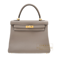 Hermes Kelly bag 25 Retourne Gris asphalt Togo leather Gold hardware