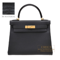 Hermes Kelly Touch bag 28 Retourne Black Togo leather/ Porosus crocodile skin Gold hardware