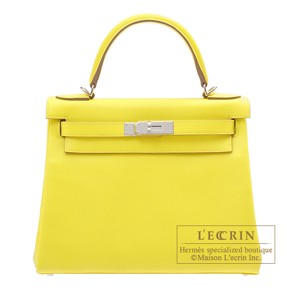 Hermes Kelly bag 28 Retourne Lime Evercolor leather Silver hardware