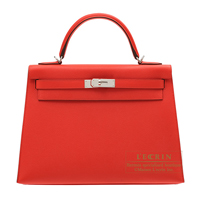 Hermes Kelly bag 32 Sellier Rouge coeur Epsom leather Silver hardware