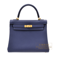 Hermes Kelly bag 25 Retourne Blue encre Togo leather Gold hardware