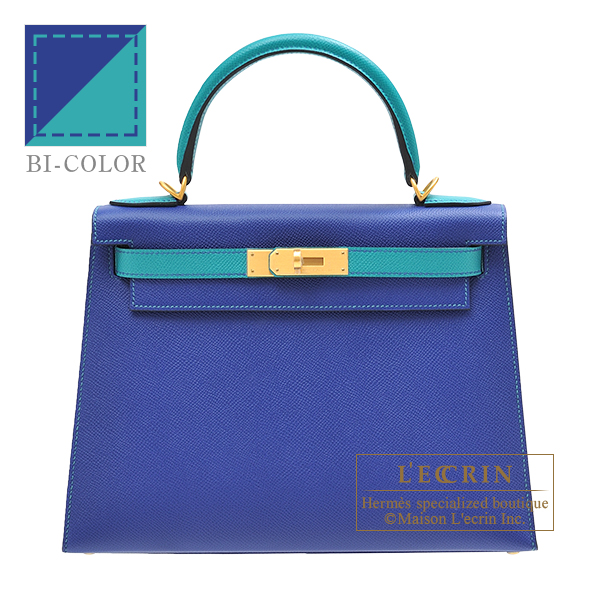 Hermes Personal Kelly bag 28 Sellier Blue electric/ Blue paon Epsom leather Matt gold hardware