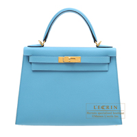 Hermes Kelly bag 28 Sellier Blue du nord Epsom leather Gold hardware