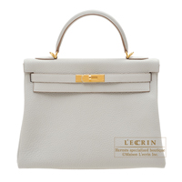 Hermes Kelly bag 32 Retourne Pearl grey Clemence leather Gold hardware