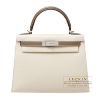 Hermes Personal Kelly bag 28 Sellier Craie/ Etoupe grey Epsom leather Silver hardware
