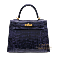 Hermes Kelly bag 25 Sellier Blue encre Alligator crocodile skin Gold hardware