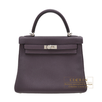 Hermes Kelly bag 25 Retourne Raisin Togo leather Silver hardware