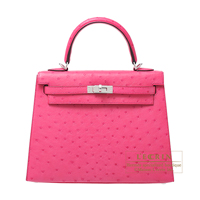 Hermes Kelly bag 25 Sellier Rose tyrien Ostrich leather Silver hardware