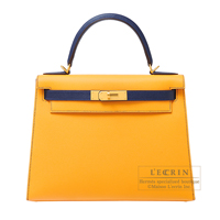Hermes Personal Kelly bag 28 Sellier Jaune d'or/ Blue saphir Epsom leather Matt gold hardware