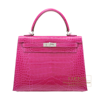 Hermes Kelly bag 25 Sellier Rose scheherazade Alligator crocodile skin Silver hardware