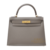 Hermes Kelly bag 28 Sellier Etain Epsom leather Gold hardware