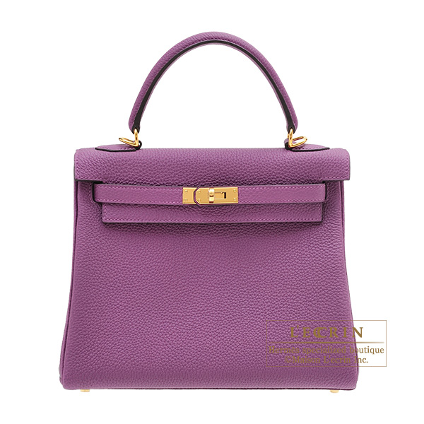 Hermes Personal Kelly bag 25 Retourne Anemone Togo leather Gold hardware
