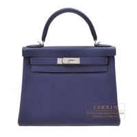 Hermes Kelly bag 28 Retourne Blue encre Togo leather Silver hardware