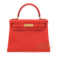 Hermes Kelly bag 28 Retourne Rouge coeur Togo leather Gold hardware