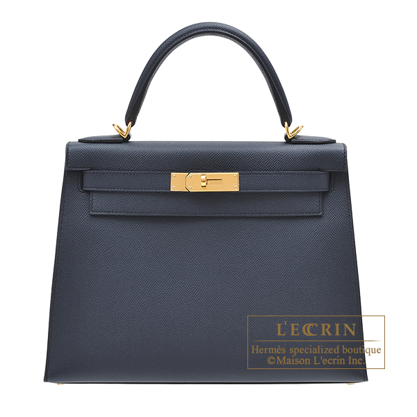 Hermes Kelly bag 28 Sellier Blue indigo Epsom leather Gold hardware