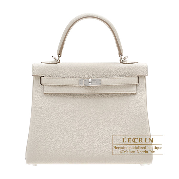 Hermes Kelly bag 25 Retourne Beton Togo leather Silver hardware