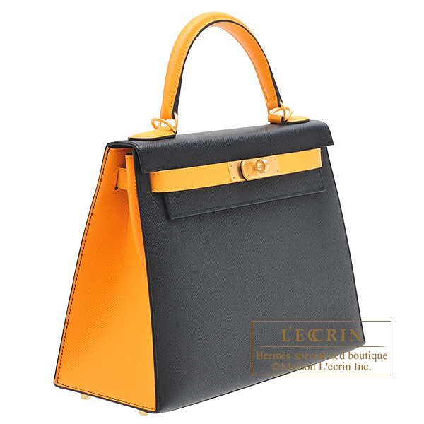 Hermes Personal Kelly bag 28 Sellier Black/Jaune d'or Epsom leather Matt gold hardware
