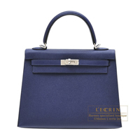 Hermes Kelly bag 25 Sellier Blue encre Epsom leather Silver hardware