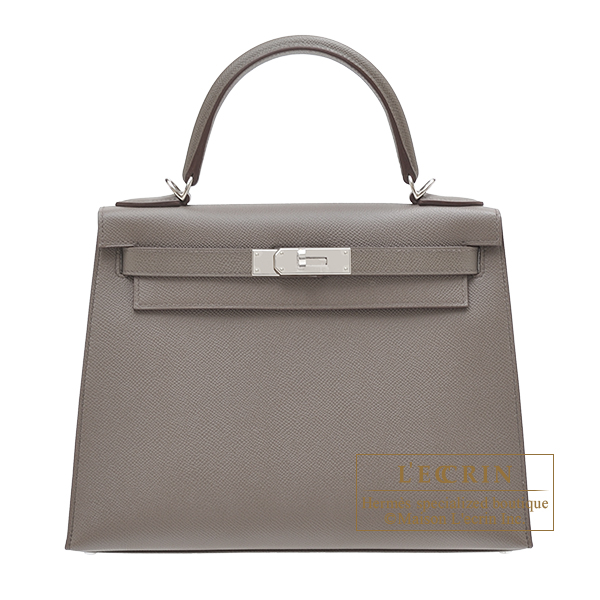 Hermes Kelly bag 28 Sellier Etain Epsom leather Silver hardware