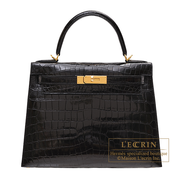 Hermes Kelly bag 28 Sellier Black Niloticus crocodile skin Gold hardware
