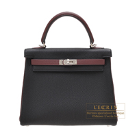 Hermes Personal Kelly bag 25 Retourne Black/Bordeaux Togo leather Silver hardware