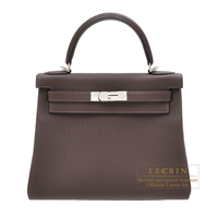 Hermes Kelly bag 28 Retourne Chocolat Togo leather Silver hardware