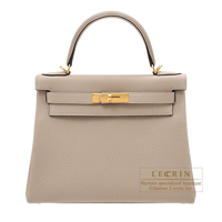 Hermes Kelly bag 28 Retourne Gris tourterelle Togo leather Gold hardware