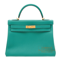 Hermes Kelly bag 32 Retourne Vert veronese Togo leather Gold hardware