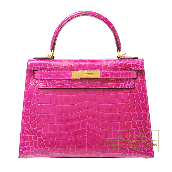 Hermes Kelly bag 28 Sellier Rose scheherazade Niloticus crocodile skin Gold hardware