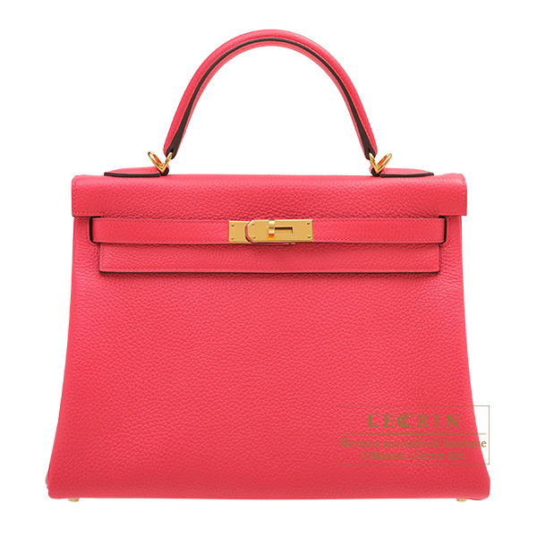 Hermes Kelly bag 32 Retourne Rose extreme Clemence leather Gold hardware