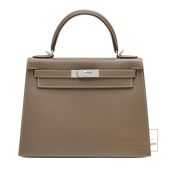 Hermes Kelly bag 28 Sellier Etoupe grey Epsom leather Silver hardware