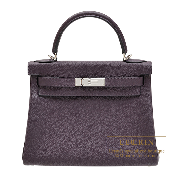 Hermes Personal Kelly bag 28 Retourne Raisin Clemence leather Silver hardware